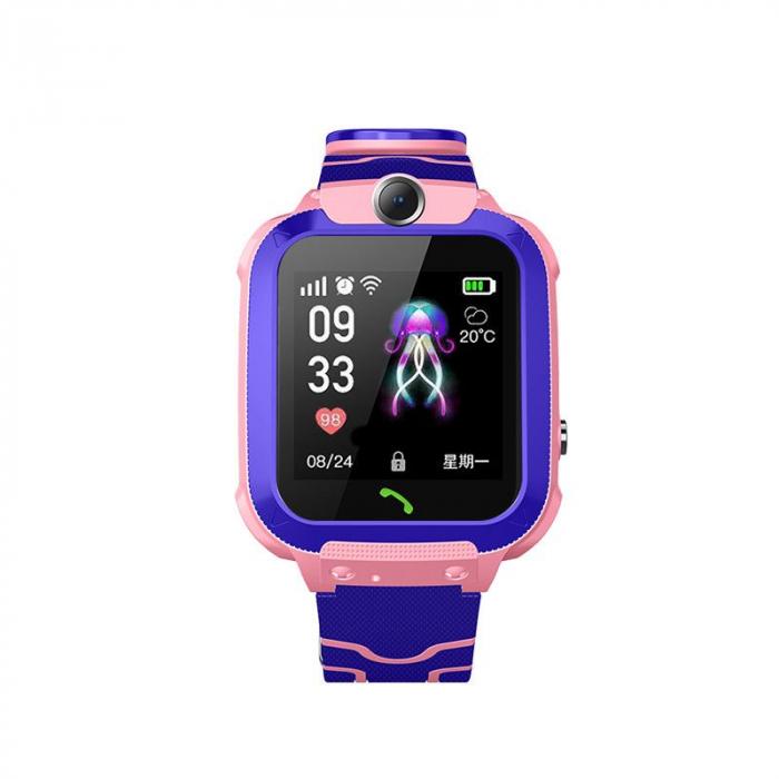 Ceas smartwatch copii GPS Q12, rezistent la apa, telefon, touchscreen, foto, monitorizare spion, buton SOS, roz 2